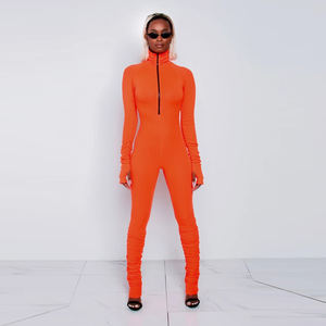 8358 Autumn Winter Tight Long Sleeve Pants Deep O- Neck Half Zipper Sexy Rompers Womens Jumpsuit