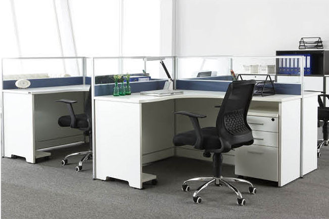 Factory Direct Custom Office Workstation Partition Aluminum Frame Modular 4 Seater Workstation