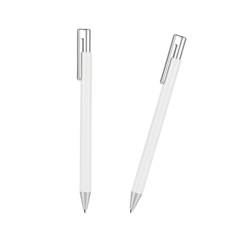 5 star hotel ballpoint pen custom logo thin mini, white plastic ball pen