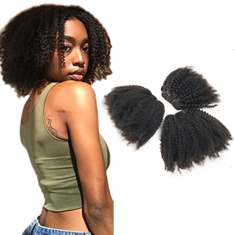 Vast Double Drawn Remy Virgin 100% Human Hair 4c Afro Kinky Curly Human Hair Weave Curly Afro Hair Synthetic Wigs