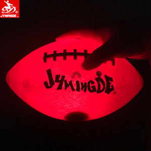Luminous glow in the dark zwei hohe helle LED fußball ball lichter gummi LED American football