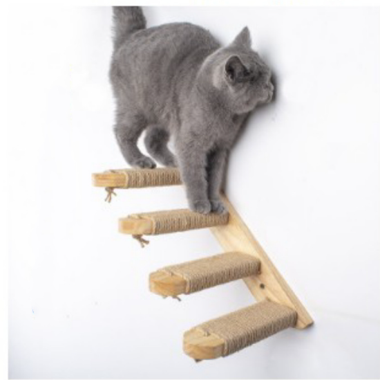 Cat Climbing Shelf Wall Mounted Four Step Cat Stairway with Jute Scratching for Cats Perch Platform Supplies