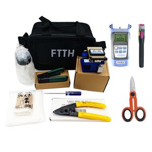 10 in 1 FTTH Assembly herramientas ftth Optical Fiber Tool Kits FC-6S Cable Stripper Optical Power Meter VFL Kevlar Cutter