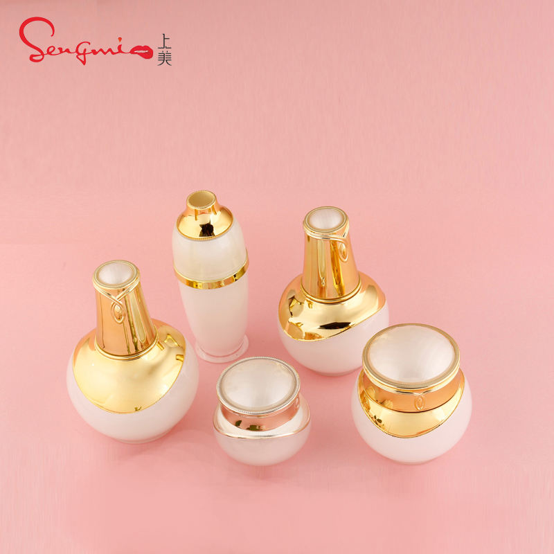 Jar of 5g 10g 15g 20g 30g 50g/bottle of 30ml 50ml 100ml packaging cosmetics acrylic Cream Round Jar Set