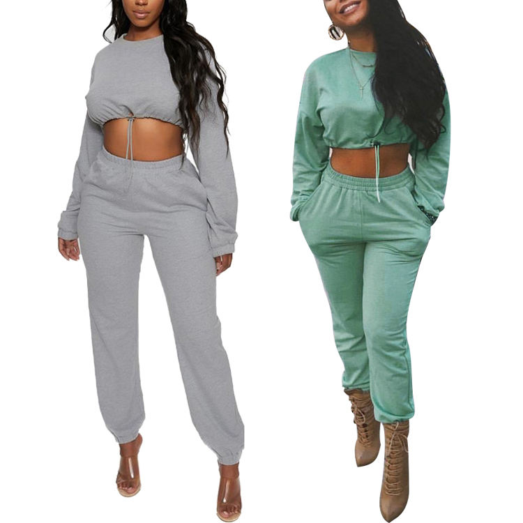 Wholesale Crop Top And Pants Tracksuits Women Sportswear Casual Matching Two Piece Set 2 Piece Set Women Clothing