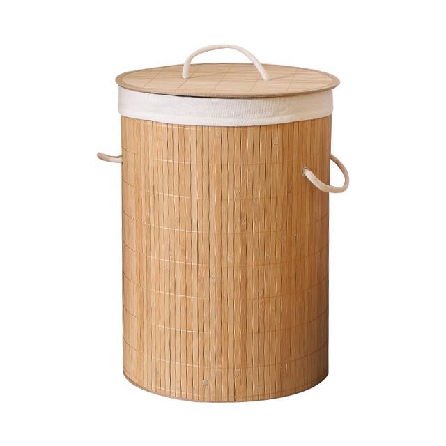 Supermarket choice and cheap household round dirty cloth storage basket folding bamboo laundry basket