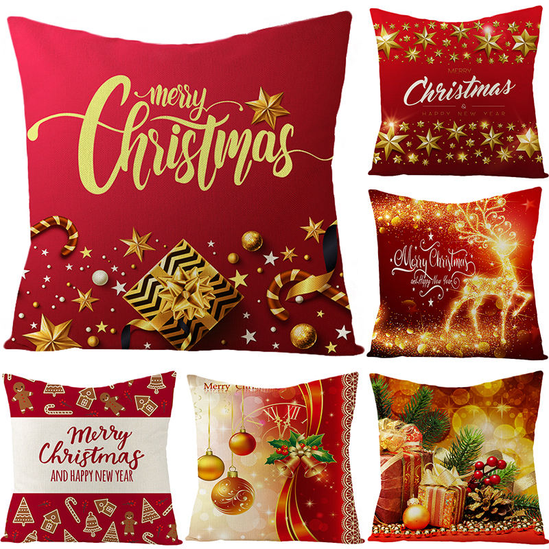 18 x18 inch Red Linen Square Xmas Christmas Pillow Covers Cushion Covers Christmas Decorative for Sofa,Bed,Couch