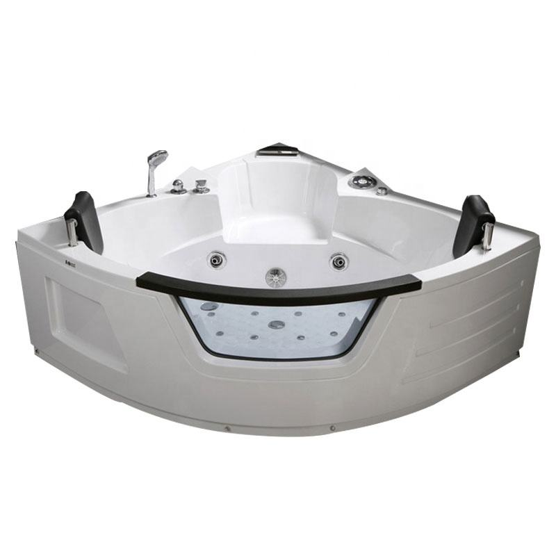 Europe standard acrylic massage bathtub for double people with glass
