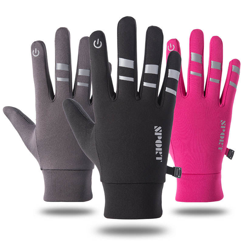 Hot selling men and women thickened warm waterproof reflective outdoor sports gloves
