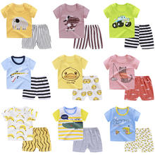 Baby Boys Sets Summer Girls Clothes Sets Short Sleeve T-shirt+Short Pants Cotton Sports Suits Cartoon Shark Children Clothing
