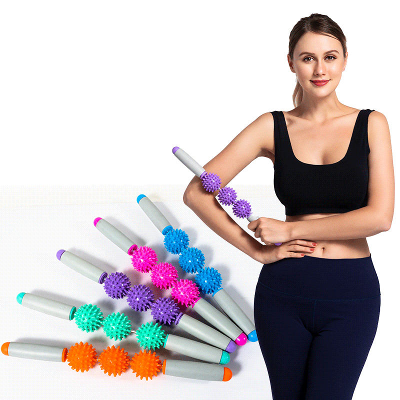 Wholesale body muscle exercise relaxation roller fitness three ball fascia yoga massage stick