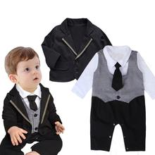 newborn autumn formal boy clothing sets children suit casual kid romper and coat
