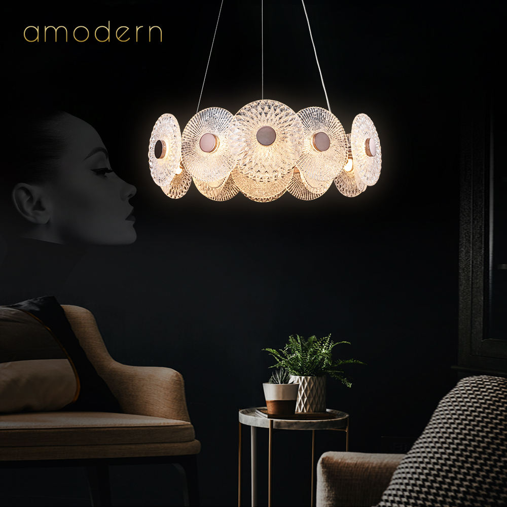 Gold designer glass modern led and lamps crystal metal kitchen fixtures modern chandeliers & pendant lights