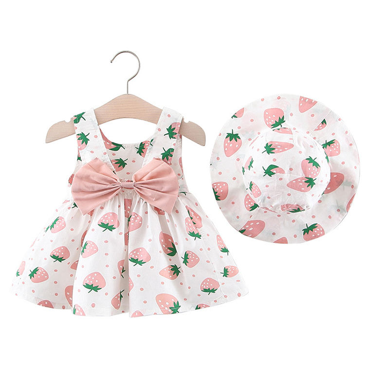 Adorable kids clothing floral bowknot girl dress summer baby dresses with hat