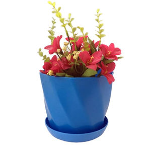 Eco-friendly Flowerpot Gardening Round Medium Planter Plastic Flower Pots With Tray