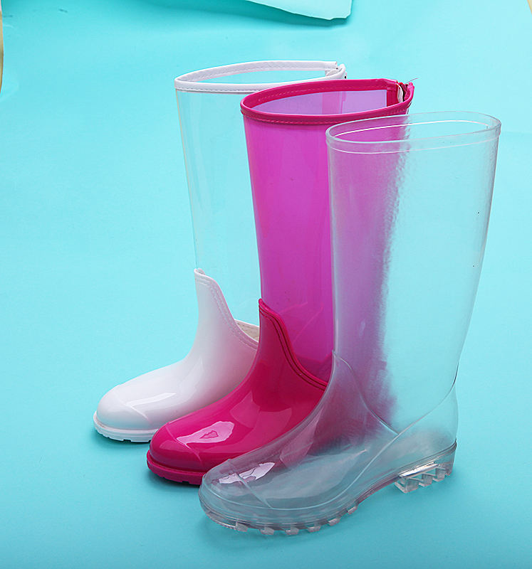 ladies waterproof pvc cheap safety clear transparent fishing rainboots gumboots for women