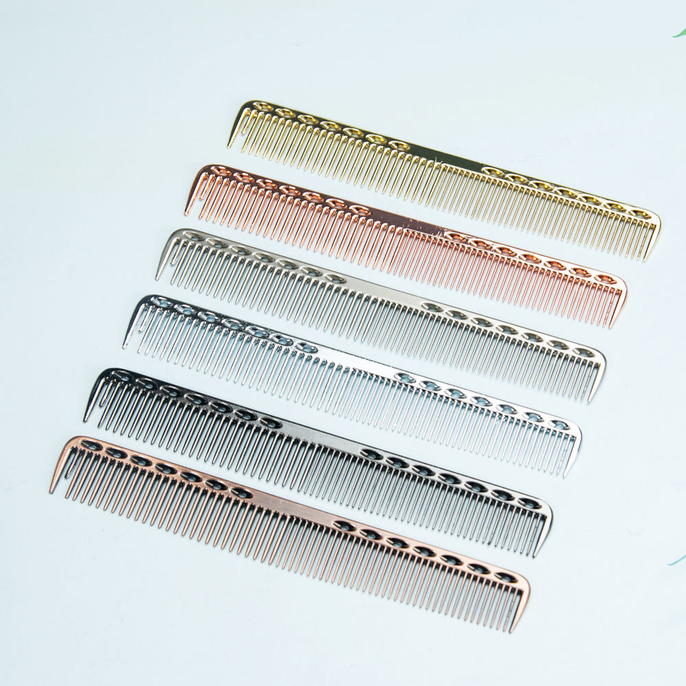 Stainless Steel Style Metal Hair Comb Professional Hairdressing Combs Hair Cutting Dying Hair Brush Barber Tools Salon