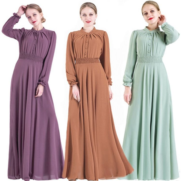 2020 New Muslim Clothing Long Sleeve Chiffon Middle Eastern Islamic Muslim Dress Women