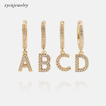 Wholesale 2020 new fashion 26 letters of alphabet 18k gold plated CZ charms Letter initial earrings