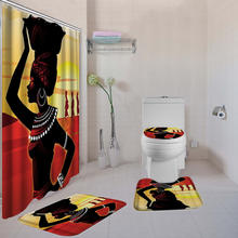 African American Woman Shower Curtain Sets with Non-Slip Rug Toilet Lid Cover and Bath Mat Afro Girl Shower Curtains  12 Hooks