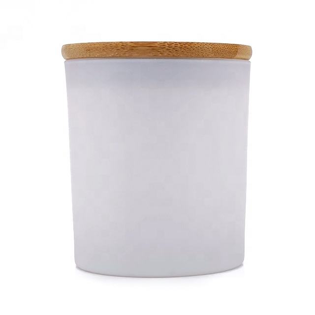 Wholesale custom logo frosted white glass jar for candle making