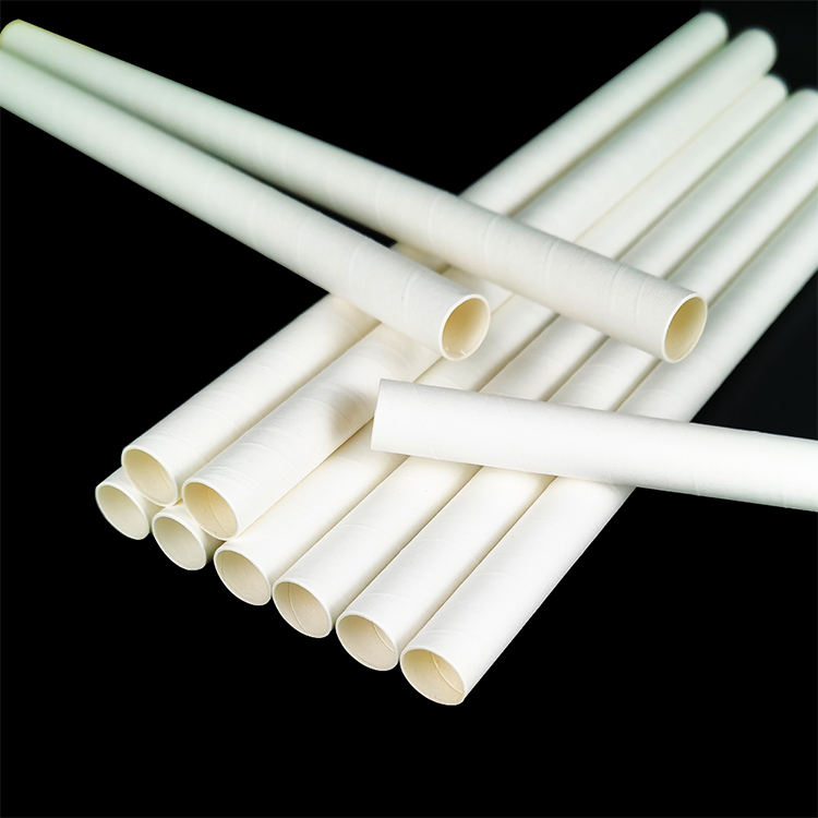 Eco friendly white pla biodegradable paper drinking straw for bar