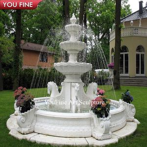 Large Outdoor Garden White Marble Stone Pool Fountain with Horse Statue