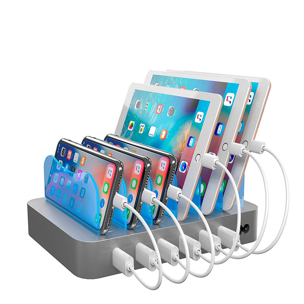 MIQ Best selling On Amazon 6 port Black USB charging station for mobile phones tablets