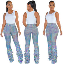 B91662 women autumn clothing sequin long pants fashion night club trousers street style long pants for woman