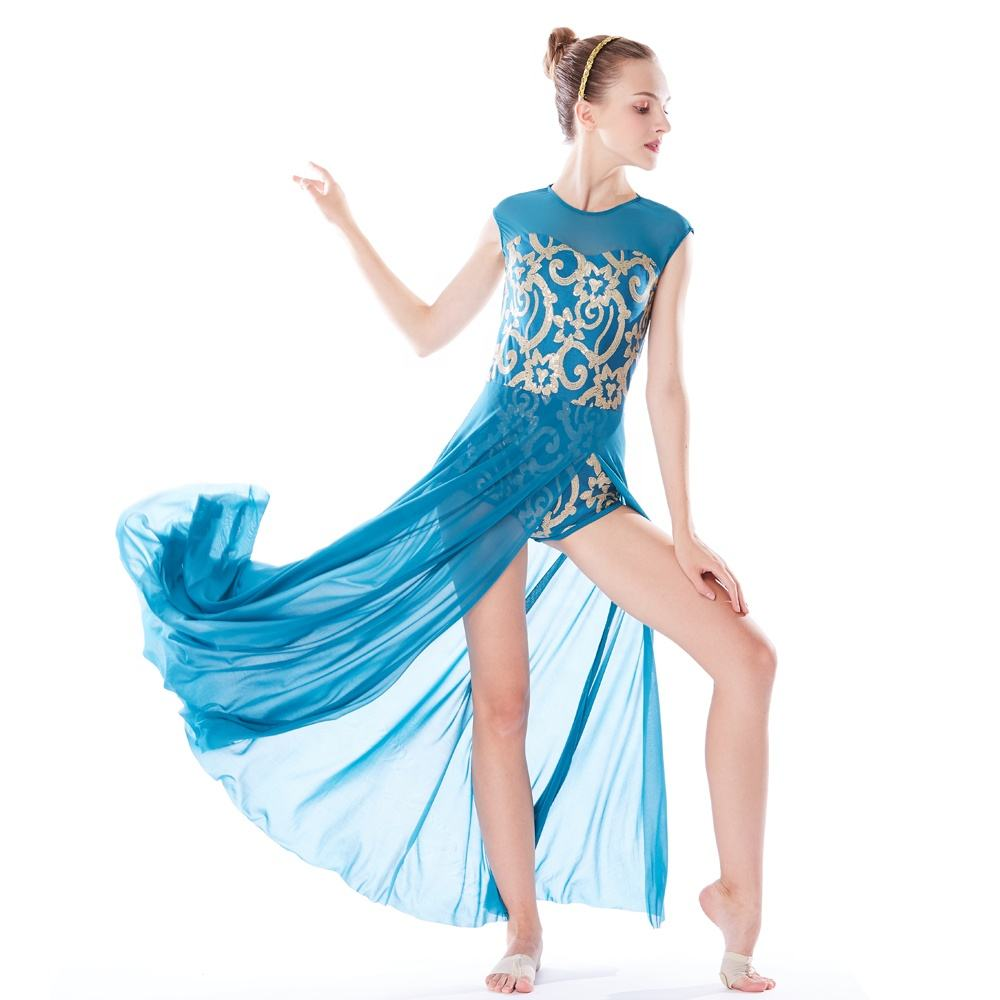 MiDee Elegant Lyrical Floral Sequins Dance Dress Modern Ballet Dance Costume
