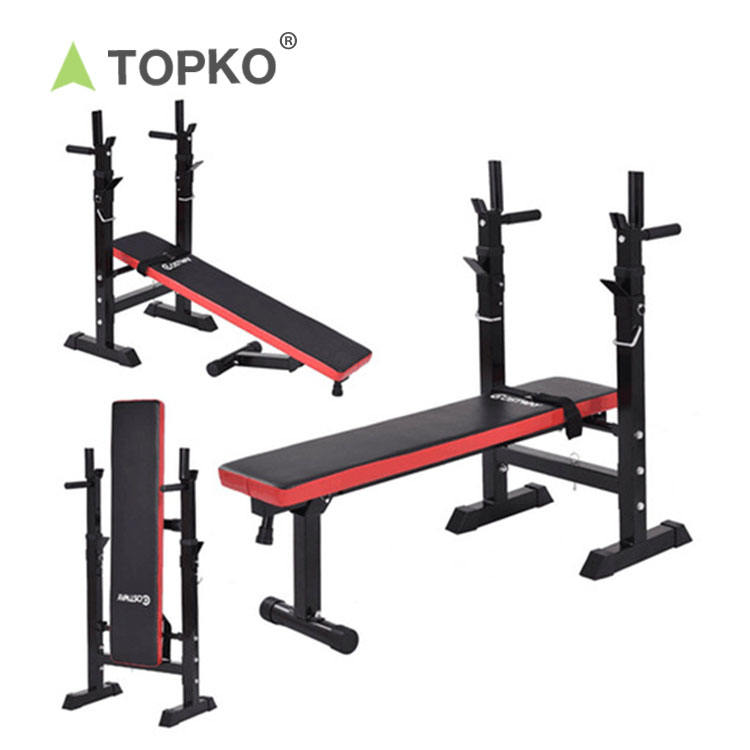 Gym Squat Rack TOPKO Wholesale Home Fitness Training Power Exercise Adjustable Gym Bench Squat Rack Set