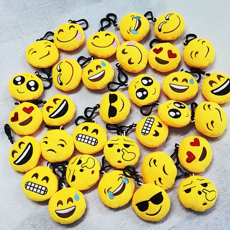 Hot Sale Plush Toy customized Stuffed Animals Cute Cheap Emoji Keychain Soft Round Stuffed Plush Keyring For Children Gifts