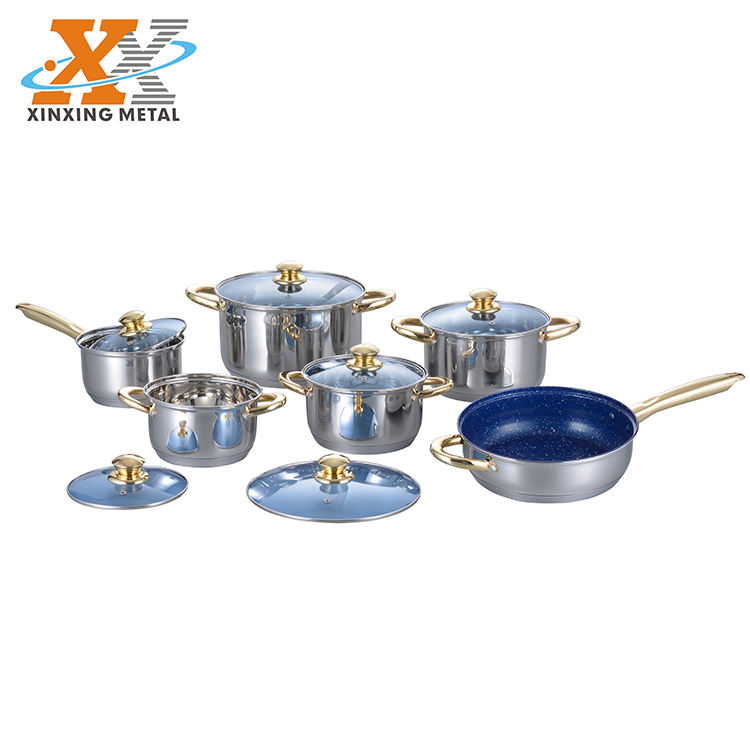 New Products Kitchen Pots 12Pcs Stainless Steel Non-Stick Cookware Sets Colorful Nonstick Cookware Sets Non Stick Cookware Set