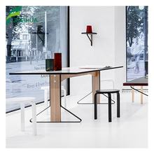 FMH Office Building Decorative HPL Laminate White Dining table
