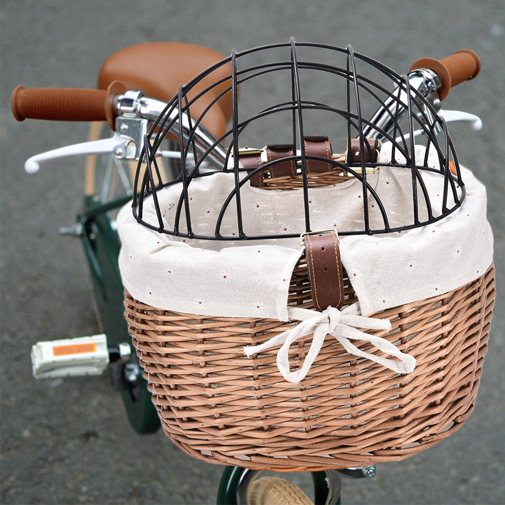 Bicycle Basket Woven Bike Basket Front Handlebar Wicker Bicycle Basket for pet