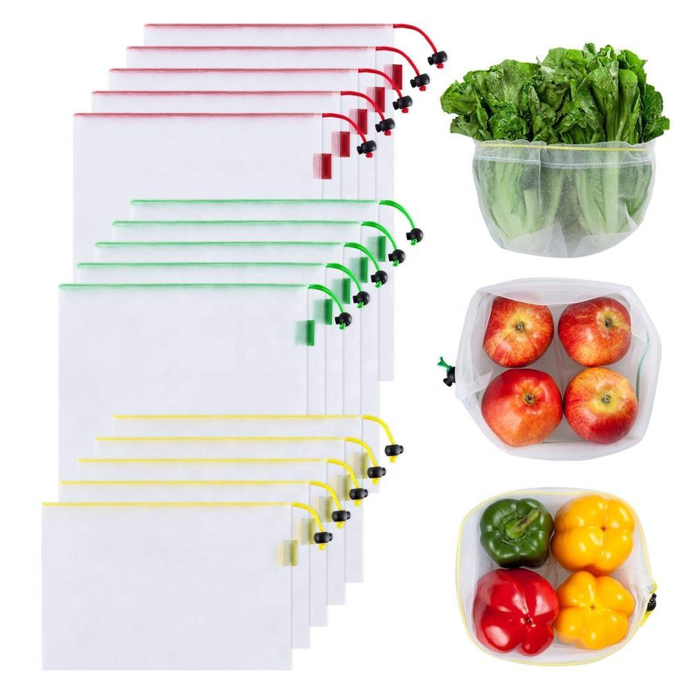 Reusable Produce Bags Bulk Set of 9 Keeps Vegetables Fresh Made of See Through Mesh Polyester