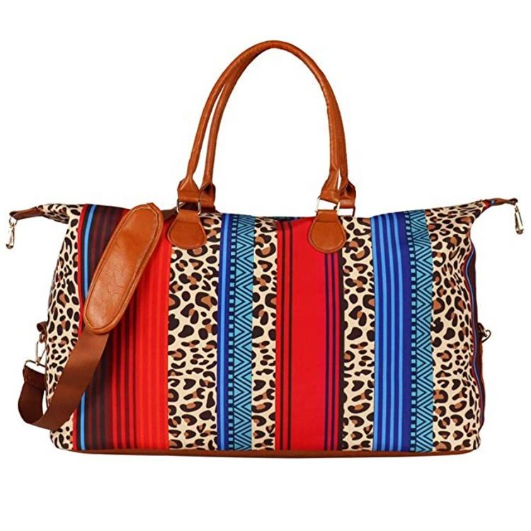 Travel Duffle Tote Bag Personalized Overnight Women Canvas Serape Leopard Weekender Bag With Shoulder Strap