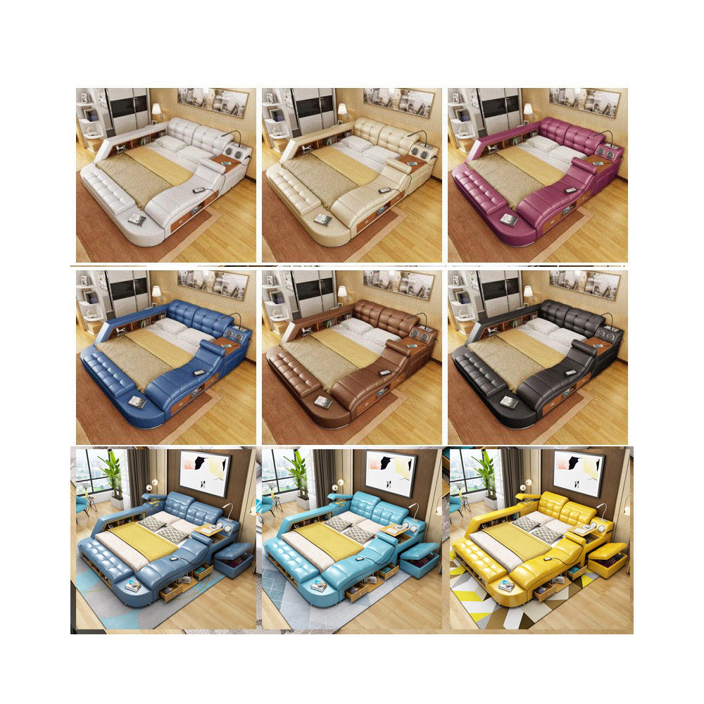 Intelligent Multifunctional Smart Bed Bedroomsets Leather Modern Bed Tatami Fabric Luxury Massage Double Bed