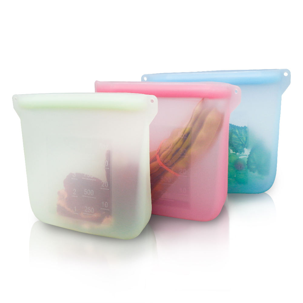 2020 Newly Designed Reusable Fresh Sealed Storage Silicone Food Bag