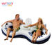 Inflatable water toy floating double circle, swimming ring for aqua park, resting swim ring with backrest