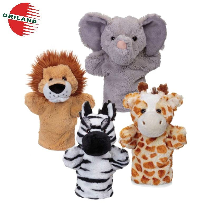 ICTI factory lovely animal cheap custom plush hand puppets for adult