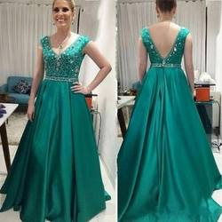Elegant V Neck Crystals Beading Bodice Hunter Green Mother of The Bride Clothing Evening Dresses Long