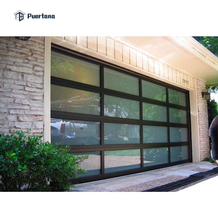 12 X 7 Residential Automatic Aluminum Roll Up Garage Door With Clear Acrylic Glass Plastic Window Inserts