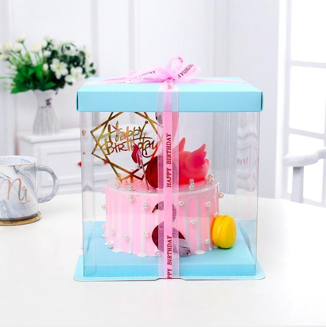 Clear Plastic Verjaardagstaart Carrier Bakkerij Verpakking Dozen Transparante Bakken Cookie Display Box Tall Laag Gift Speelgoed Doos
