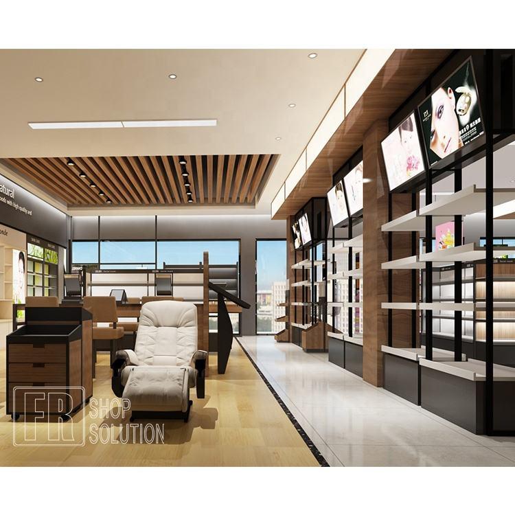 Precio de venta por mayor pelo salón de belleza de madera ajustable estante de vidrio de pared de la puerta gabinetes