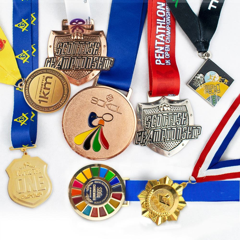 Metal Medal Cheap Rainbow medal Wholesale Custom Design Your Own Blank Zinc Alloy 3D Metal Award Marathon Running Sport Medal