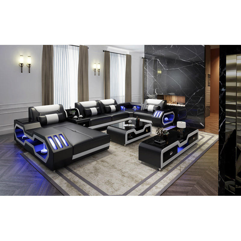 USB charger furniture couch living room sofa leather with LED light
