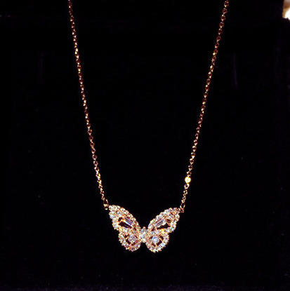 New Design Wholesale Jewelry Rose Gold Necklace Trendy Crystal Butterfly Necklaces