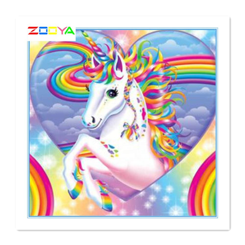 High Quality Diamond Painting Unicorn Beautiful Dream Colorful Plastic Grid Cross Stitching Shinning For Decorative Painting Art