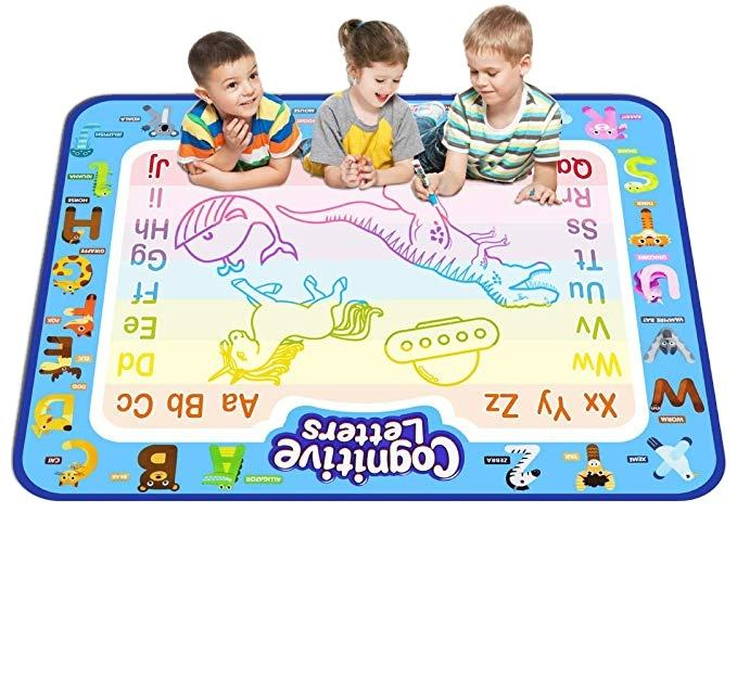 Aqua Magic Doodle Mat Large Educational Water Drawing Mat For Kids Toy Toddler Painting Board With 2 Magic Pens, 1 Magic Brush